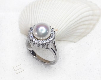 Lustrous White Pearls & Sterling Silver Ring, AAA Grade Freshwater White Pearls  In Silver Promise Ring, Engagement Ring, Size 7