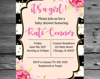 Pink and Gold Baby Shower Invitation, Baby Shower Invitation, Custom Invitation, Girl Baby Shower, Gold Glitter invite, Printable invite.
