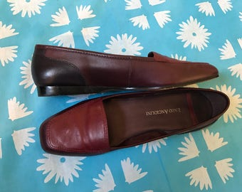 Tri-Color Leather Loafers, Enzo Angiolini, 1980s, US Women's Size 7.5