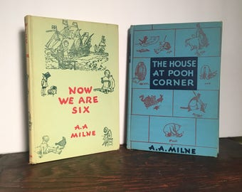 The House at Pooh Corner & Now We Are Six, 1950 1st Revised Editions, Classic Books by A.A. Milne