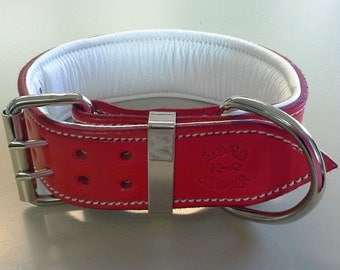 Red Leather Dog Collar with Soft White Suede Inner Lining