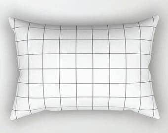 Black White Geometric Pillow, Kids Pillow, Grid Accent Pillow, Monochrome Grid Pillow Cover, Rectangular Pillow, Nursery Cusion, Home Decor