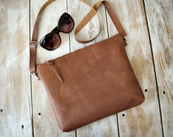 Brown Leather Crossbody Bag,Distressed Leather Crossbody Bag,Brown Leather Purse,Boho Crossbody Bag,Brown leather Bag,Distressed Leather Bag
