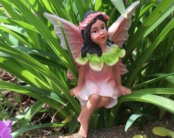 Miniature Garden Fairy, Miniature Fairy, Fairy Garden, Terrarium Garden, Flower Pot Garden, Gardening Fairy, Sitting Fairy
