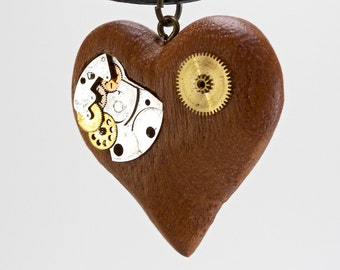 Steampunk pendant - heart with parts of clock - wooden jewelry