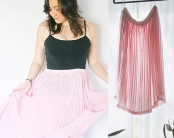 Blush Pink Skirt | Sheer Pleated Size Large