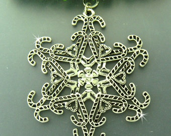 Candy Cane SnowWonders® Snowflake Pewter Ornament/Pendant, Candy Ornament, Candy Candy window decor, Candy Cane Package Decor (#SW5820)