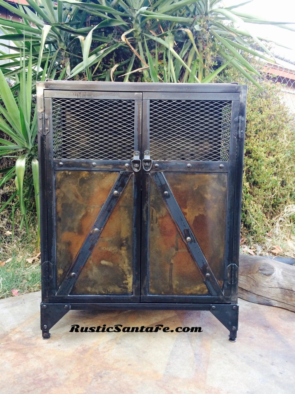 Vintage industrial style liquor cabinet, reclaimed urban steel ...