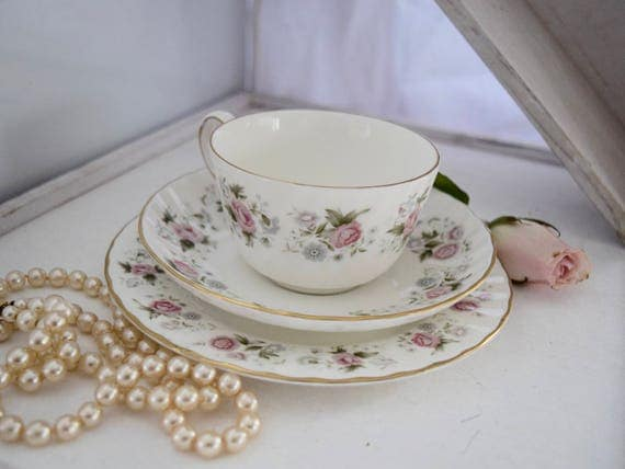 "Minton ""Spring Bouquet"" trio set, cup, saucer and side plate, 1970s, floral, bone china, cup of tea, cuppa, delicate,"