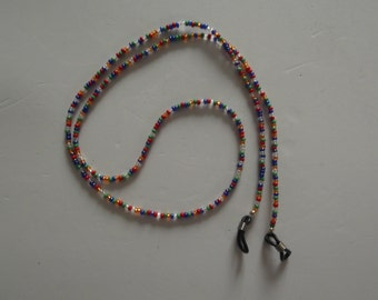 Hand made glasses chain with seed beads which I call fruity polo colours