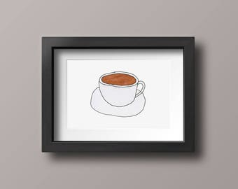 Coffee Mug Latte Marker Illustration Print, Latte Decoration, Barista Gift Postcard