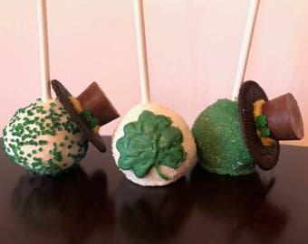 St. Patty's Day Cake Pops-Chocolate-Vanilla-Dipped-Green-One Dozen