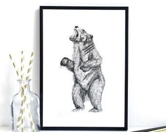 Roaring Bear Print
