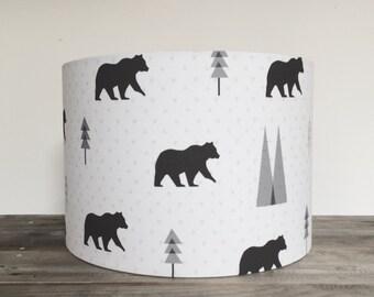 kids monochrome 'bears' drum Lampshade 20cm, 30cm, 40cm
