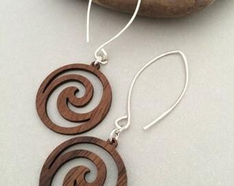 Sterling Silver Threader Earrings, Open Hoop Earrings, Wood Swirl Dangle Earrings