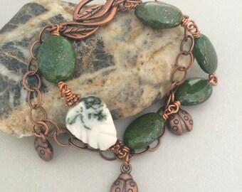 Green Pyrite Copper Bracelet, Copper Ladybug Bracelet, Moss Agate Bracelet