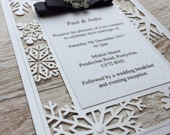 Snowflake Winter Wedding Invitation laser cut Sample
