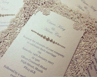 English Rose laser cut Wedding Invitation sample