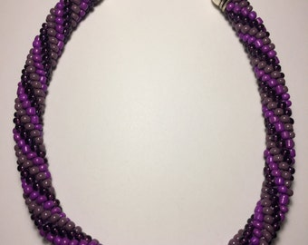 Purple spiral necklace, beaded necklace, spiral necklace, bead crochet necklace, handmade costume jewelry, purple necklace