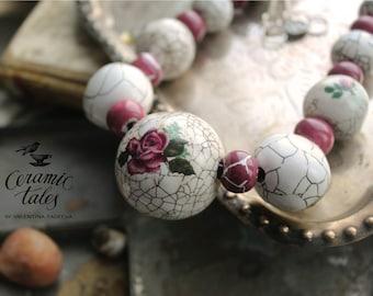Vintage Rose Ceramic Necklace White Beads Dusty Rose Ceramics Crackle