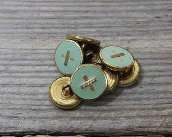 Set of 8 vintage metal buttons, brass buttons with cross over light green enamel