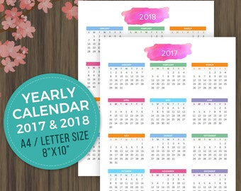 Printable Calendar 2017, 2018 Desktop Calendar, Wall Calendar, Year at a Glance, Yearly Planner, Yearly Organizer, Letter Size, A4,8x10