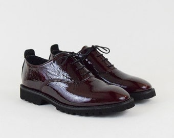 Patent Burgundy Leather Oxford Shoes
