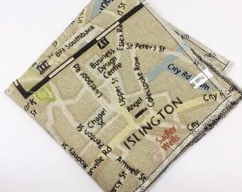 London Map Hopsack Pocket Square Mens Handkerchief, Bow Tie, Hanky Custom Square Personalised Handkerchief Wedding Handkerchief gift for him