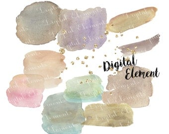 Commercial Use: Watercolor Clip-art, Watercolor Paint Swatch Clip-art, Gold Glitter Clipart, Watercolor Clip-art. No. PEF.1