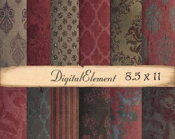 ON SALE Digital Scrapbook Paper, Digital Background Paper, Red and Brown Digital Paper, 8.5 x 11 Paper Pack, Red Digital Paper. No.V3.8.Da