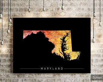 Maryland Map - State Map of Maryland - Art Print Watercolor Illustration Wall Art Home Decor Gift - PRINT