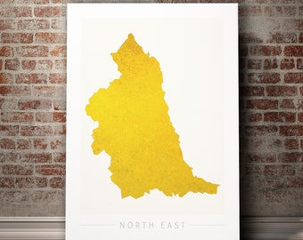 North East Map - County Map of North East England - Art Print Watercolor Illustration Wall Art Home Decor Gift - COLOUR PRINTS