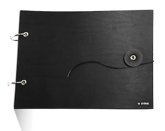 Black Leather Sketchbook Cover, sketch book cover, drawing book, a5, personalized, monogrammed