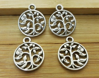 80 pcs  Double  sided Tree Of Life charms findings, Antique Silver  Tree Of Life pendants bracelet for DIY supplies,Wholesale