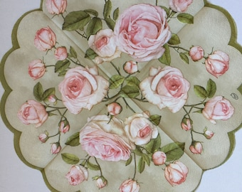 Paper Napkins For Decoupage Set 2 Round Roses