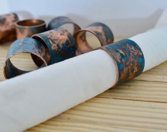 Copper napkin rings - patina industrial dining tabletop decor housewarming gift wedding mother's day unique spring table boss father's day