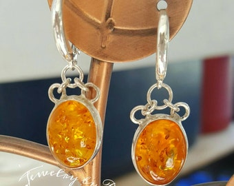 Sterling silver, Baltic Amber earrings, medium size, elegant earrings, one of a kind, honey Amber