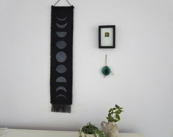 Moon Phase, Gift under 30, Wall Hanging,  Boho chic, Fringe, Block print ,Modern Home Decor