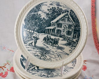 Blue Transferware American Homestead Winter Vintage Currier and Ives Salad Plate with Scalloped Edge