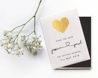 Save the Date Wedding Magnet - Simple and Elegant Gold Heart