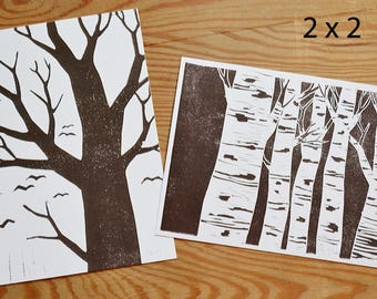 "Postcard set of 4 ""trees"""