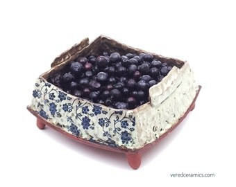 Ceramic Berry Bowl- Handmade ceramic colander - square ceramic strainer - handcrafted ceramic berry colander