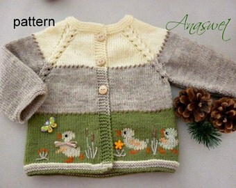 Baby knitting patterns.Pattern baby cardigan.Baby cardigan with ducklings.Baby clothes.
