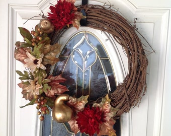 Golden Fall Wreath, Front Door Wreath, Halloween Wreath Pumpkin Wreath, Thanksgiving Wreath