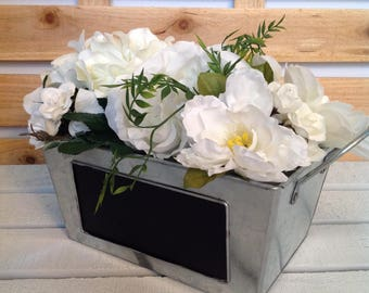 White Flower Wedding Arrangement, Rose Flower Arrangement, Rustic Flower Arrangement, Tin Container Arrangement