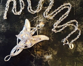 Arwen Evenstar 925 Sterling Silver Large Pendant Necklace With Chain Swarovski Crystal