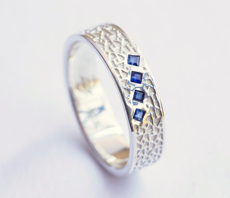 Herren Ehering Herren Saphir Ring Weißgold Herrenring