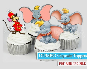 Dumbo Cupcake Toppers/ Dumbo Printables/ Instant Download/ You Print 60% OFF