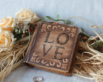 Rustik ring box Ring pillow in book Ring bearer book box Engagement ring box Wooden ring box Rustik wedding Book ring box Wooden jewelry box