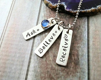 Ask Believe Receive~ Handstamped Bar Necklace~ Law Of Attraction~ Positive Energy Necklace~ Postitive Quotes~ Synchronicity~ Awake My Soul